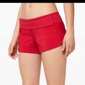 Lululemon Flamenco Red Speed Shorts
